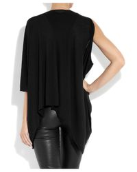 Helmut Lang Black Oversized Jersey Asymmetric Top