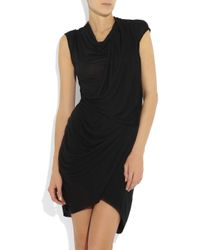 Helmut Lang Black Twisted Draped Jersey Dress