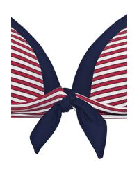 Jets by Jessika Allen Red Coastline Striped Bikini Top