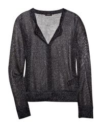 JOSEPH Black Metallic Knitted Cardigan