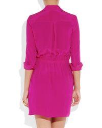JOSEPH | Purple Silk Crepe De Chine Shirt Dress | Lyst