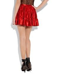 JOSEPH Red Aggy Leathertrimmed Stretchwool Dress