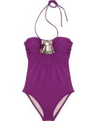 La Perla - Purple Conchiglie Embellished B-cup Swimsuit - Lyst