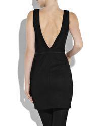L'Agence Black Boat-neck Felt Shift Dress