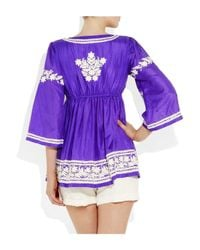 Leaves Of Grass | Purple Udolfo Embroidered Silk Top | Lyst