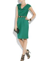 Lela Rose Green Pleated Cotton-twill Dress