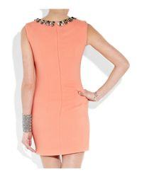 Matthew Williamson Pink Bead-embellished Crepe Dress