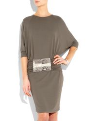 Michael Kors Brown Belted Stretch-crepe Dress