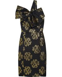 MILLY Black Bow-embellished Cotton-blend Dress