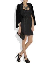MILLY Black Metallic Strapless Mini Dress