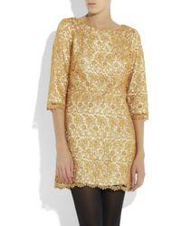 MILLY | Metallic Lace Shift Dress | Lyst
