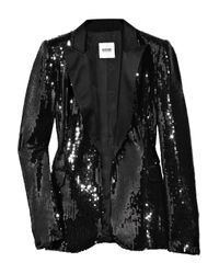 Boutique Moschino | Black Sequined Satin Tuxedo Jacket | Lyst