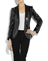 Boutique Moschino - Black Sequined Satin Tuxedo Jacket - Lyst
