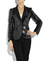 Boutique Moschino Black Sequined Satin Tuxedo Jacket