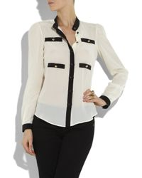 Boutique Moschino White Contrast-trim Silk Blouse