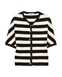 Boutique Moschino White Short-sleeved Striped Wool Cardigan