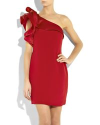 Notte by Marchesa Red Asymmetric Silk-crepe Dress