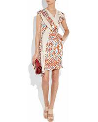 Peter Pilotto - Orange Thessa Silk-twill and Fine-knit Cotton Dress - Lyst