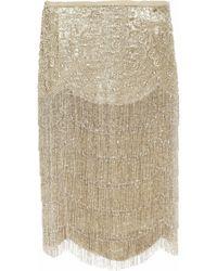 Ralph Lauren Collection | Metallic Theresa Beaded Silk-blend Lamé Skirt | Lyst