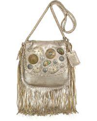 Ralph Lauren Collection   Metallic Embellished Fringed Leather Shoulder Bag   Lyst