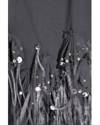 Rebecca Taylor Gray Feather-embellished Silk Dress