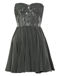 Rebecca Taylor Gray Strapless Silk Bustier Dress