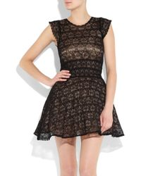 RED Valentino - Black Knitted Lace Mini Dress - Lyst