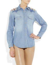 Sandro - Blue Beaded Denim Shirt - Lyst