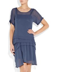 See By Chloé Blue Pleat-detailed Chiffon Dress