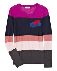 Sonia by Sonia Rykiel Multicolor Striped Wool Intarsia Sweater