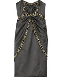Temperley London Gray Mini Fabiana Crystal-embellished Silk-satin Dress