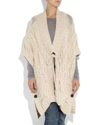 Textile Elizabeth and James Natural Charlotte Cable-knit Poncho