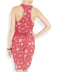 Thakoon Addition Orange Gathered Printed Silk Dress