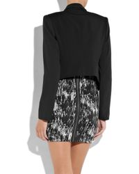 Theory Black Bennira Wool and Silk-blend Jacket