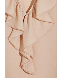 Theory - Pink Nalena Ruffled Silk-crepe Blouse - Lyst