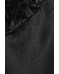 Tibi Black One-shoulder Silk-satin Blouse