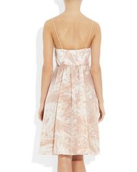 Tibi - Natural Marble-print Silk Wrap Dress - Lyst