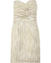 Tibi Metallic Mara Strapless Jacquard Dress