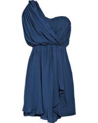 Tibi | Blue One-shoulder Draped Silk Dress | Lyst