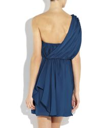 Tibi Blue One-shoulder Draped Silk Dress