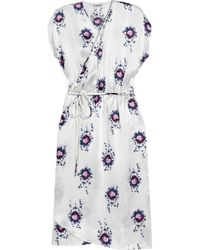 Tucker | White Printed Silk-charmeuse Wrap Dress | Lyst