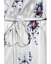 Tucker White Printed Silk-charmeuse Wrap Dress