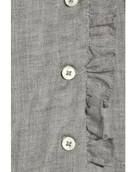 Vanessa Bruno Athé - Gray Embroidered Cotton and Wool-blend Blouse - Lyst