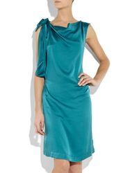Vivienne Westwood Anglomania Blue Dione Knotted Washed-silk Dress