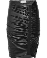 Willow Black Asymmetric Faux-leather Ruched Skirt