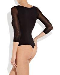 Wolford Black Rebecca Swarovski Crystal-embellished Bodysuit