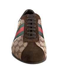 Gucci - Brown Beige Gg Canvas Web Stripe Sneakers for Men - Lyst