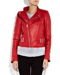 JOSEPH Red Perfeto Leather Biker Jacket
