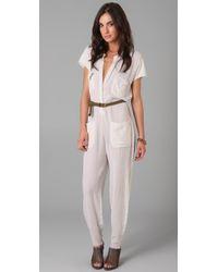 Raquel Allegra - White Short Sleeve Jumpsuit - Lyst