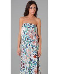 Tibi - Multicolor Tile Mosaic Long Strapless Dress - Lyst